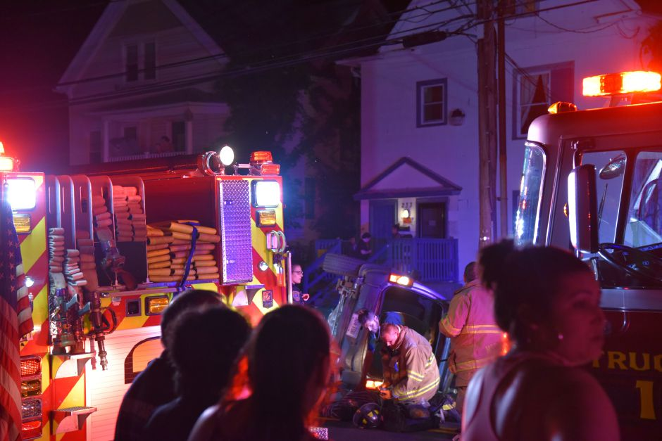 Emergency crews respond to a two-car crash on Cook Avenue in Meriden Wednesday, July 11. | Bailey Wright, Record-Journal