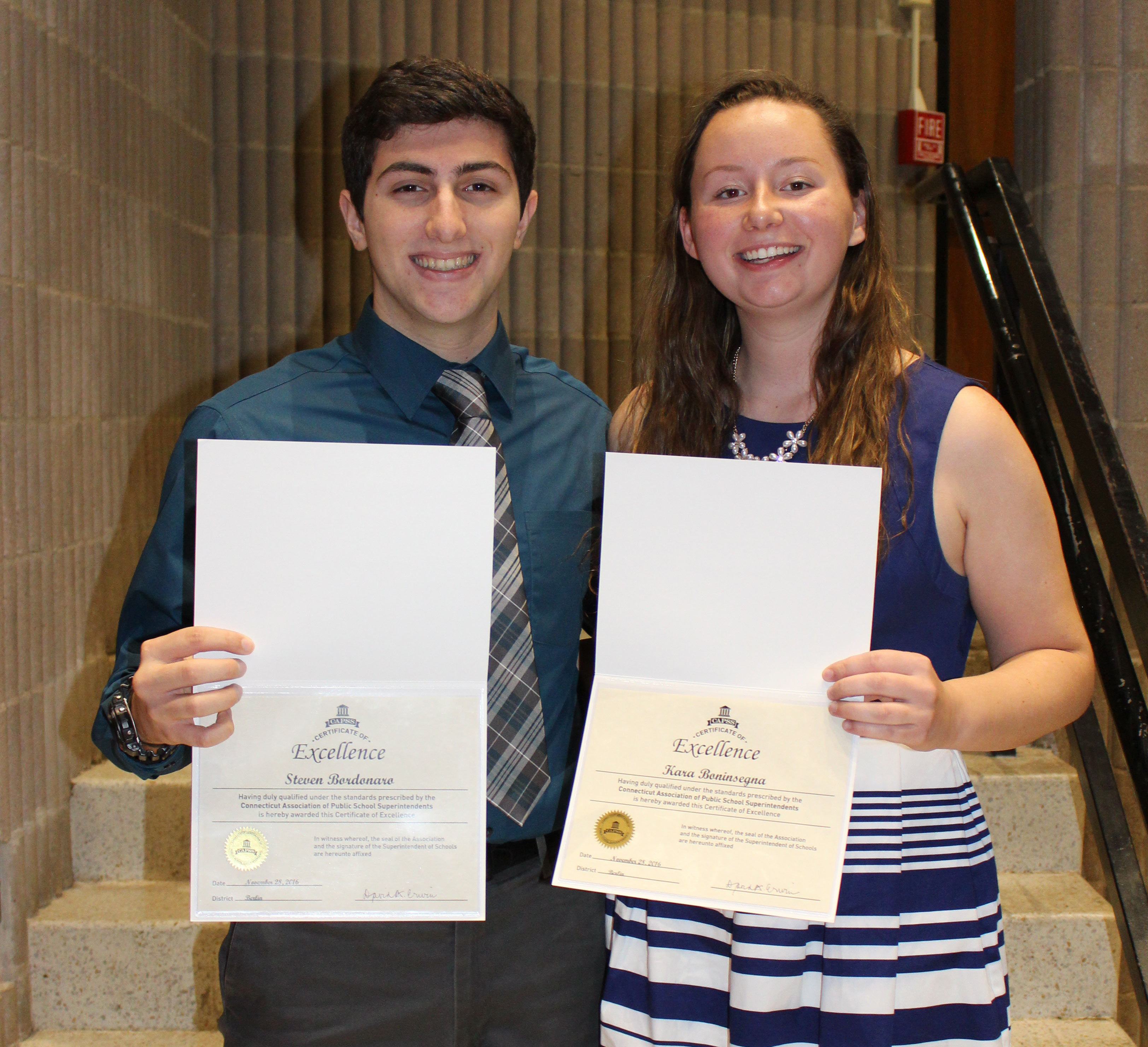 Steven Bordonaro and Kara Boninsegna were awarded the CAPSS (CT Association of Public School Superintendents) Certificate of Excellence leadership award at the November Board of Education meeting. The award is based on a student's leadership to the school, academic prowess relative to ability and service to others in the community.