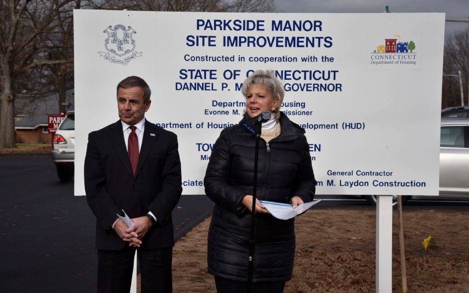 Suzanne Piacentini, right, explains the improvements recently completed on the exterior of Parkside Manor Housing, 191 Pool Rd. in North Haven, on Monday, Dec. 17, 2018. The town recently completed exterior site improvements and replacement of the fire alarm system thanks to a grant from the U.S. Department of Housing and Urban Devleopment through the Small Cities Program. | Bailey Wright, Record-Journal