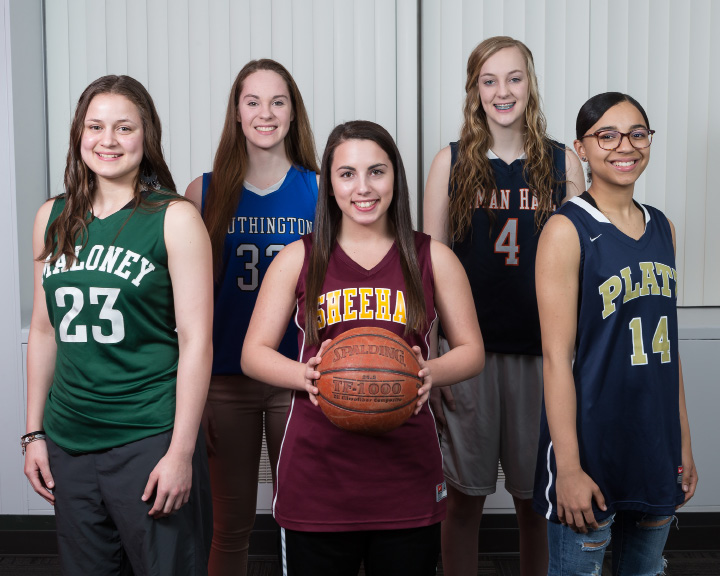 The All Record Journal girls basketball team from left front Maloney