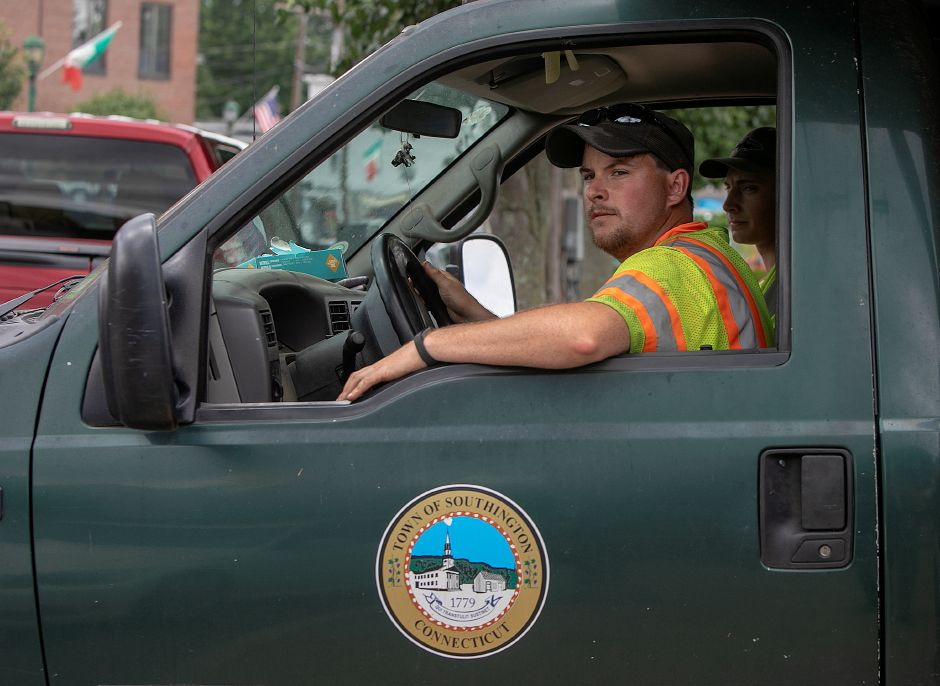 The Town of Southington seal seen on a town truck driven by laborer, Dan Strout, on Center Street in Southington, Thursday, July 26, 2018. The Town Council unanimously passed new guidelines on the use of the town seal after a recommendation from the ordinance review committee. Dave Zajac, Record-Journal