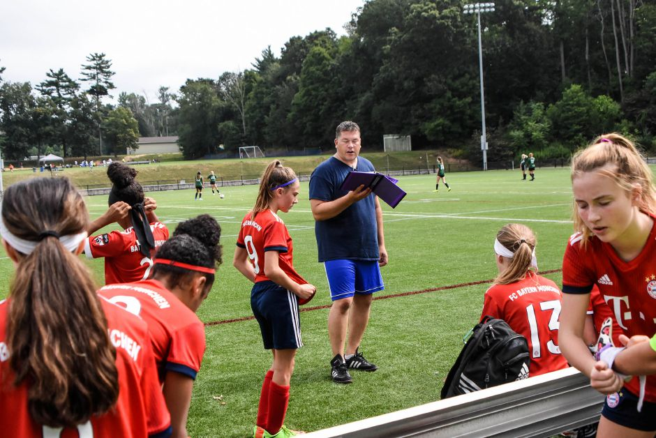 Wallingford native Rob Schmitt gets his GPS Rhode Island team ready to face MYS GVSA on Saturday in a TWIST U14 girls division game at Choate. Schmitt's team won that game and another later in the day to take a 2-0 record into Sunday. Jim McGovern, Special to the Record-Journal