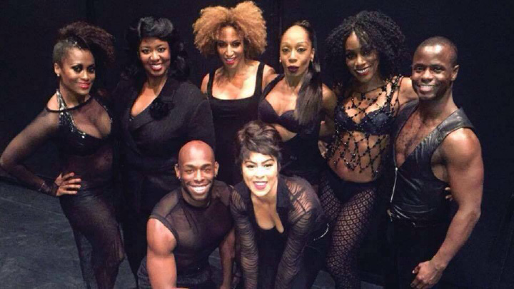 "Lana Gordon (back row, third from left) with some of the cast of Broadway's ""Chicago."" 