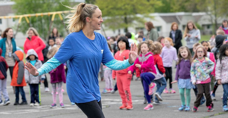 Zumba instructor Alyson Grisham leads students during Activate Southington