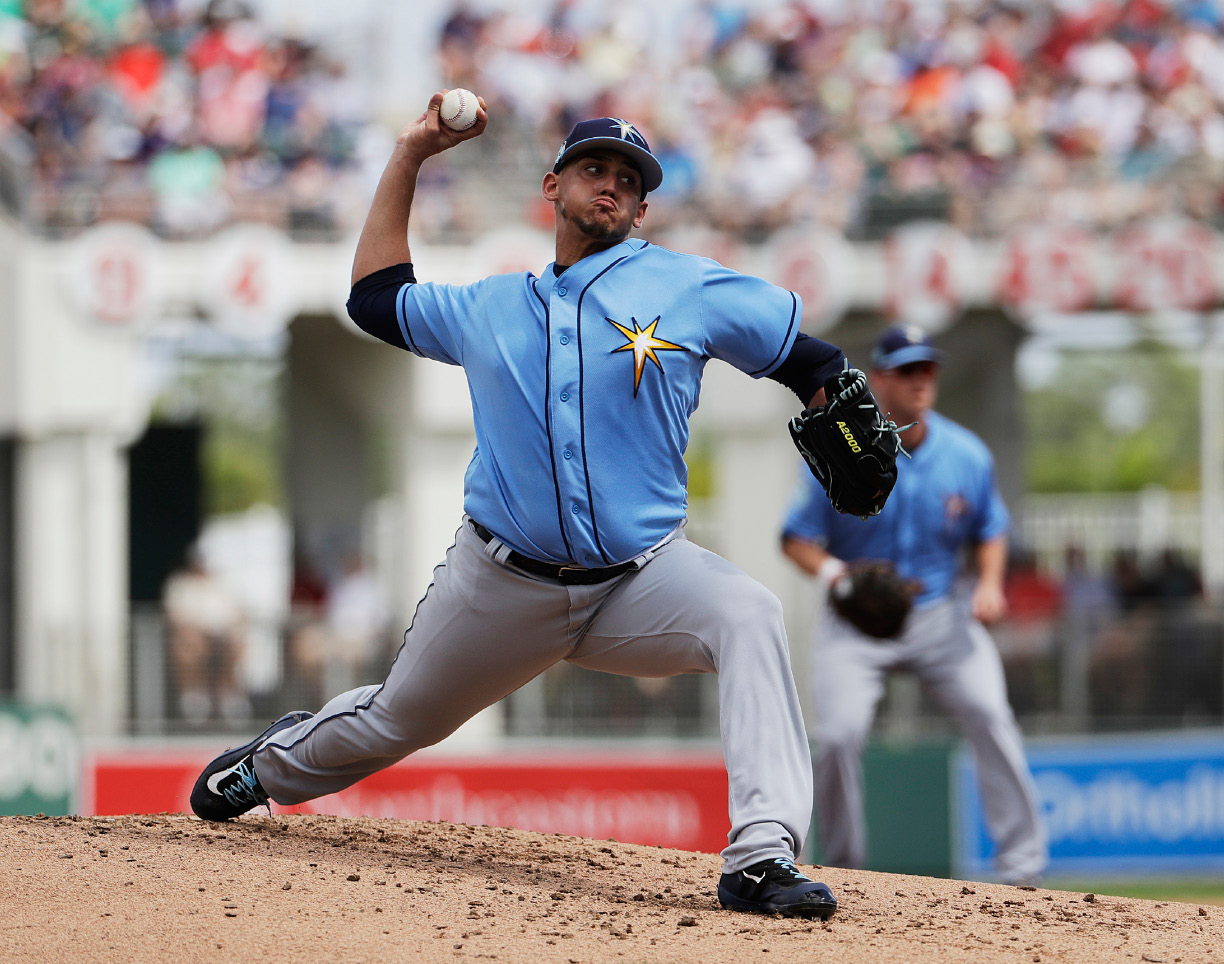 FILE - In this March 2, 2017, file photo, Tampa Bay Rays starting pitcher Jose De Leon throws in the first inning of an exhibition spring training baseball game against the Boston Red Sox, in Fort Myers, Fla. The chance to bring in De Leon was just too tempting for the Rays, who got the right-hander in a January trade with the Dodgers for second baseman Logan Forsythe. (AP Photo/David Goldman, File)