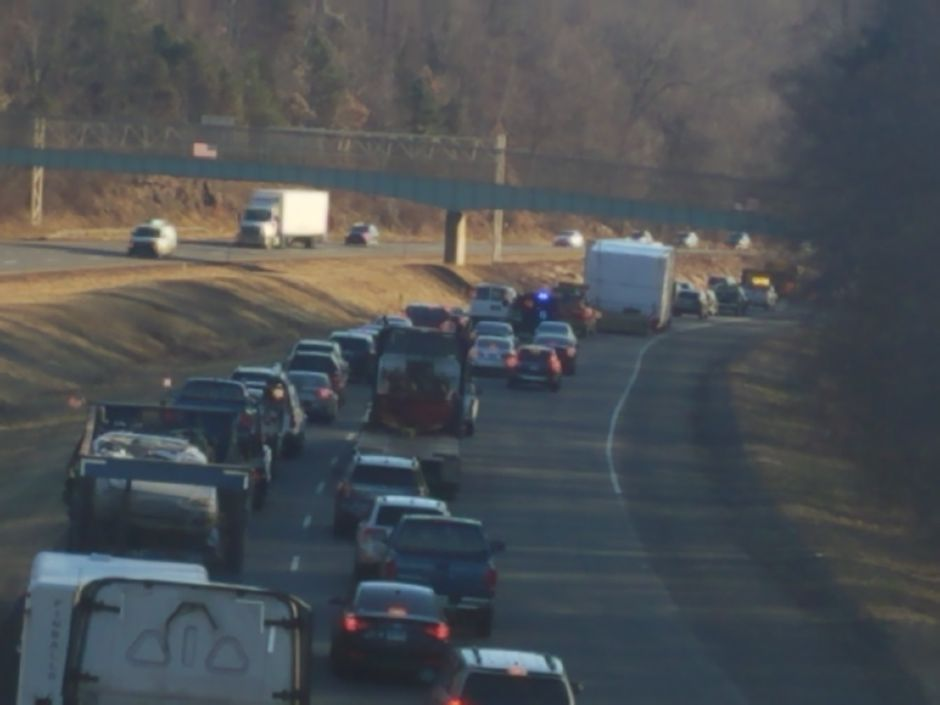 Emergency crews have responded to Interstate 691 east after a car reportedly crashed down an embankment. | Lauren Sellew, Record-Journal