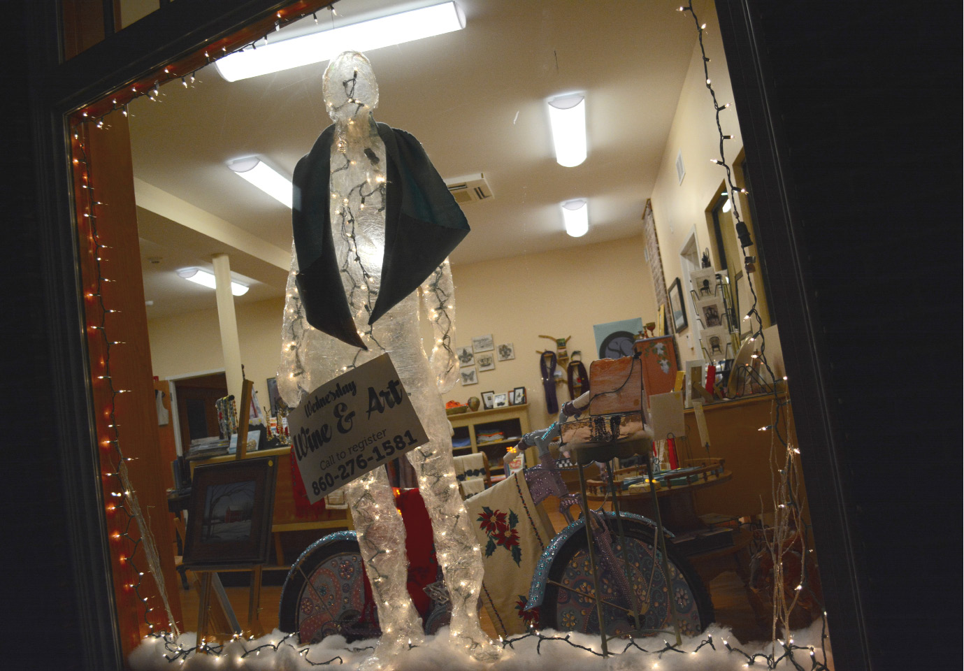 A tape figure at the Southington Community Cultural Arts building on Thursday, Dec. 8. | Bryan Lipiner, Record-Journal
