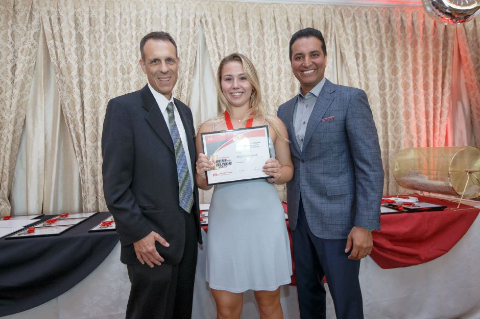 Girls Lacrosse Player of the Year Mia Pulisciano with Bryant Carpenter and Kevin Negandhi Sunday during the third annual Record-Journal Best of the Bunch Brunch Awards at the Aqua Turf Club in Plantsville June 24, 2018 | Justin Weekes / Special to the Record-Journal