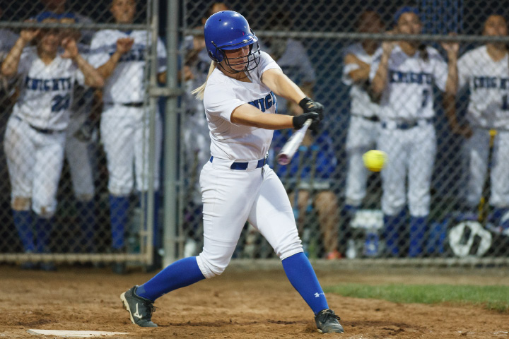 Southington's Rachel Dube (25) takes a swing Saturday during the class LL final with Amity in West Haven June,14 2014 | Justin Weekes / For the Record-Journal
