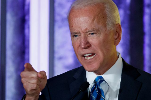 Democratic presidential candidate former Vice President Joe Biden speaks at the 2019 Democratic women