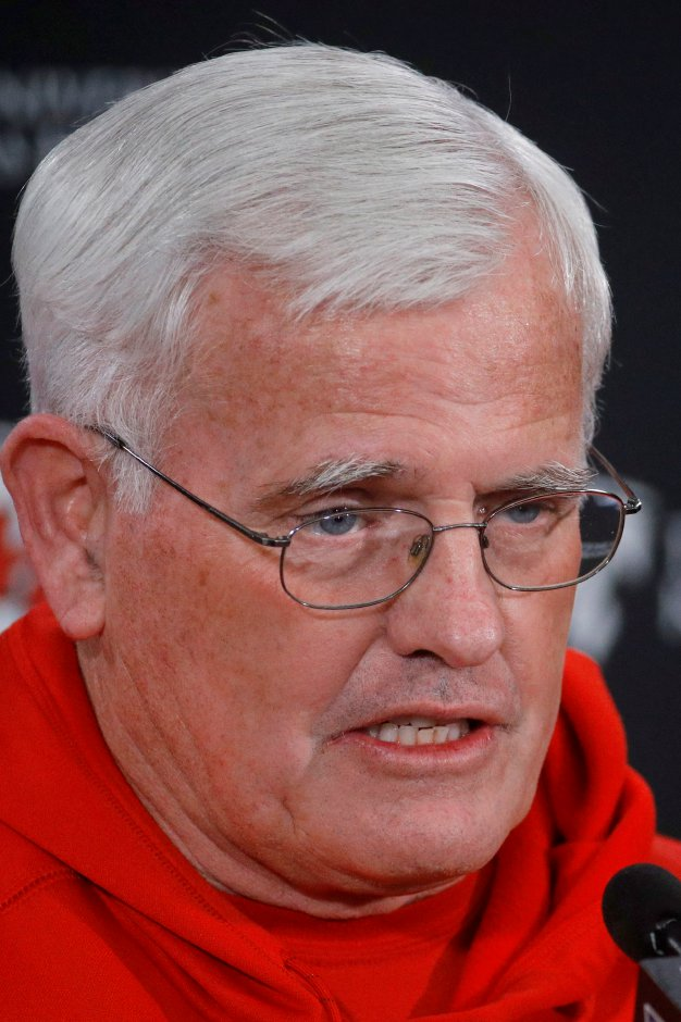 Kansas City Chiefs defensive coordinator Bob Sutton talks to the media before team workouts Thursday, Jan. 17, 2019, in Kansas City, Mo. The Chiefs fired Sutton Tuesday, following the team's 37-31 loss to the Nw England Patriots in the AFC Championship game on Sunday. Charlie Riedel, Associated Press