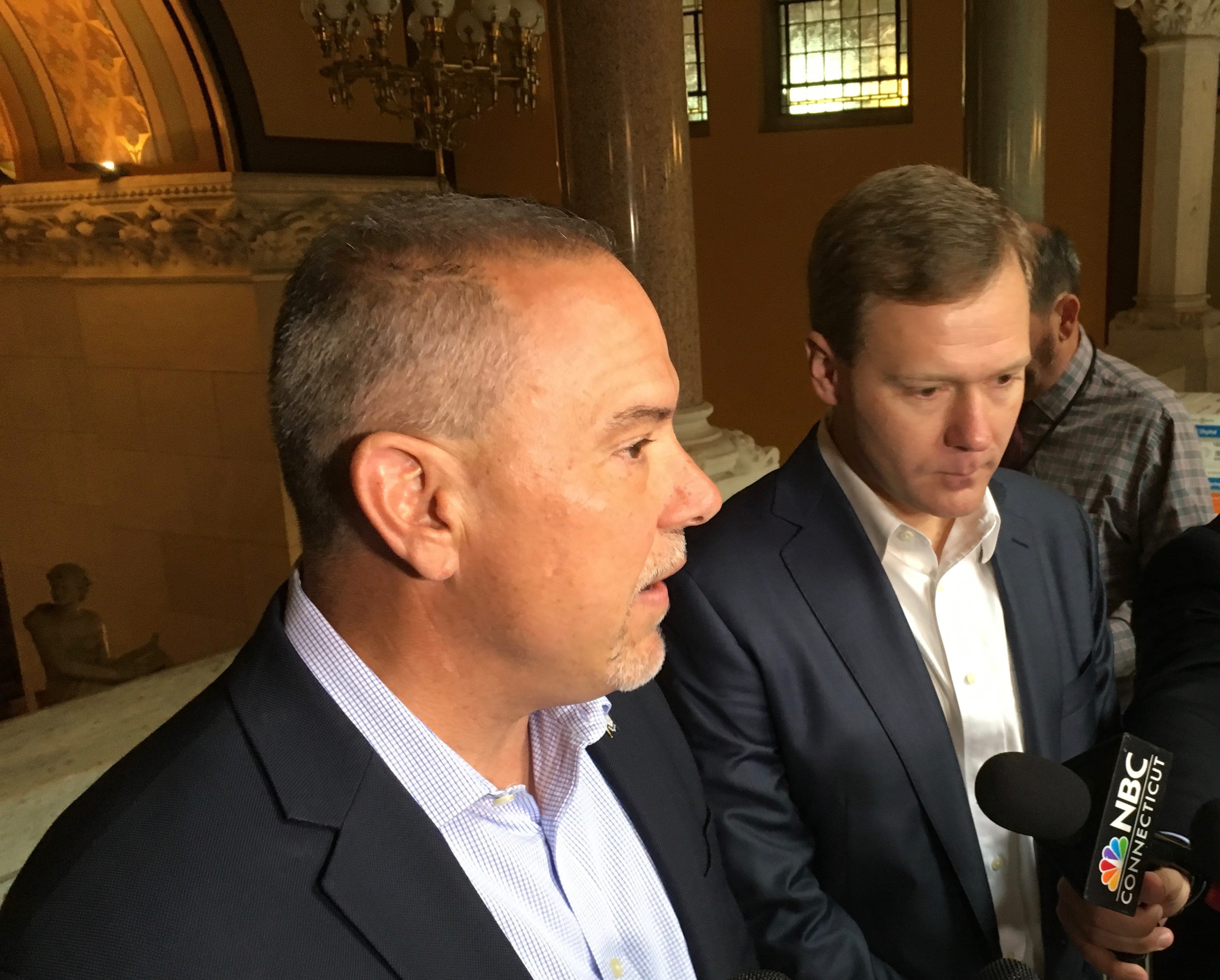 Reps. Joe Aresimowicz and Matt Ritter, the incoming House Democratic leaders, speak at a press conference Thursday. | Mark Pazniokas, The Connecticut Mirror
