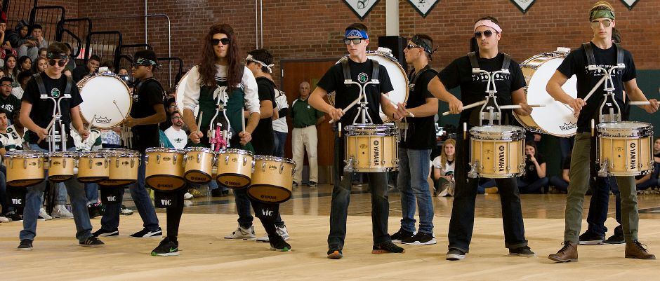 Members of the Maloney High School drum line perform during the annual pep rally at Maloney High School, Wednesday, November 23, 2016. | Dave Zajac, Record-Journal