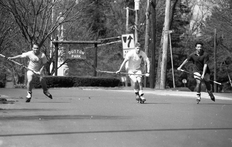 RJ file photo - Members of the Choate Rosemary Hall hockey team skate down North Main Street April 20, 1989.
