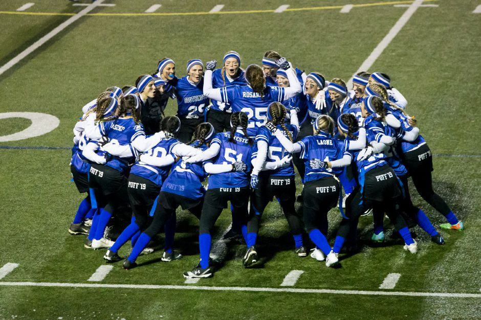 Southington gets ready for the second half Monday during powder puff game with Rocky Hill at Fontana Field on the campus of Southington High School in Southington November 19, 2018 | Justin Weekes / Special to the Record-Journal