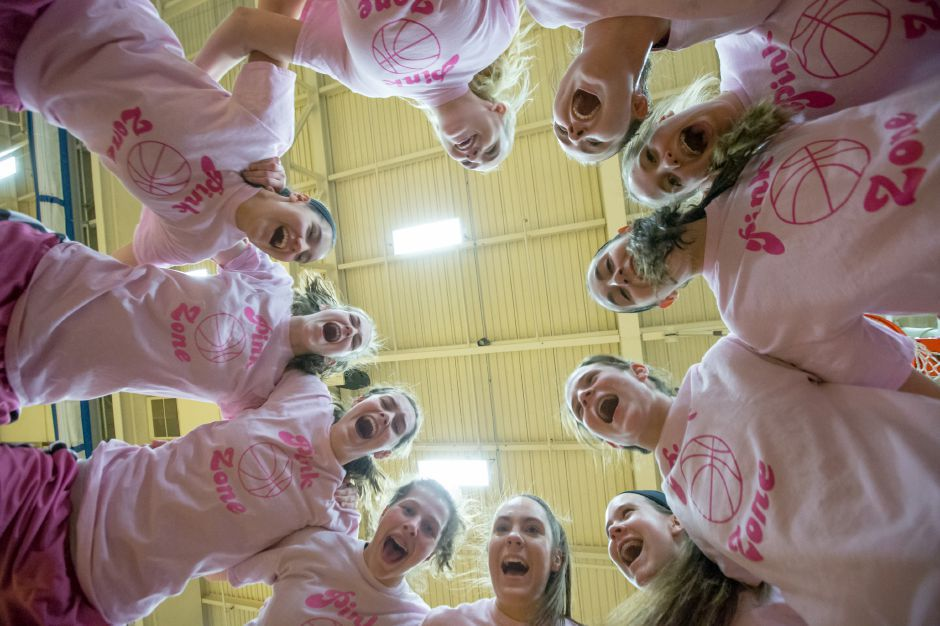 Southington girls basketball get ready to face South Windsor Friday during the Pink Zone game for the Kay Yow Cancer Fund at Southington High School in Southington January 26, 2018 | Justin Weekes / Special to the Record-Journal