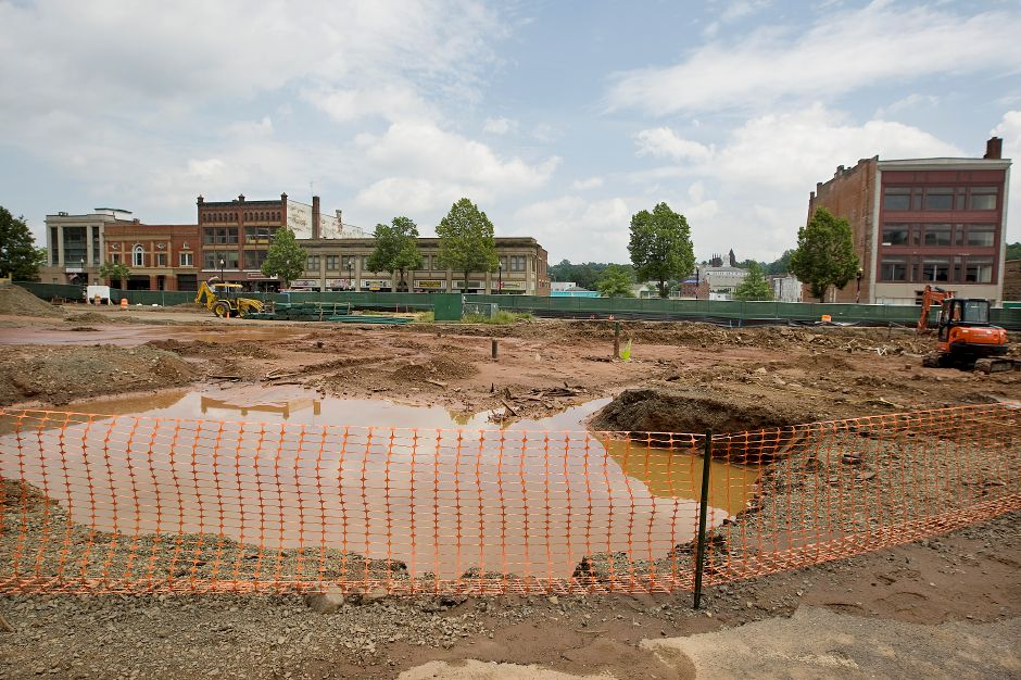 Future site of a new mixed-use building at 24 Colony St. in Meriden, Wednesday, July 8, 2015. The project will include 63 apartments and more than 11,000 square feet of commercial and retail space, as well as a 275-space parking garage. | Dave Zajac / Record-Journal