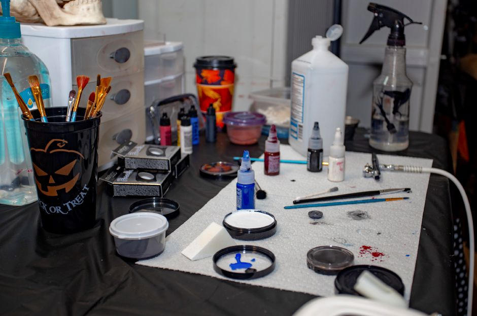 The tools of the trade for a Halloween make-up artist at the Haunted Graveyard at Lake Compounce Sept. 27, 2018. | Richie Rathsack, Record-Journal
