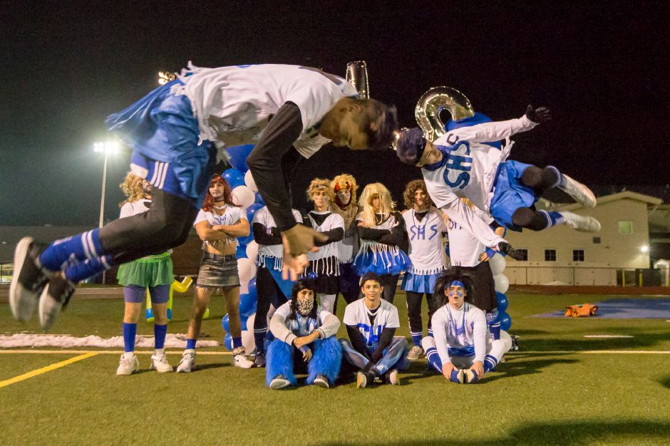 Southington cheerleaders Mason Leland and John Griffin flip for the crowd Monday during powder puff game with Rocky Hill at Fontana Field on the campus of Southington High School in Southington November 19, 2018 | Justin Weekes / Special to the Record-Journal