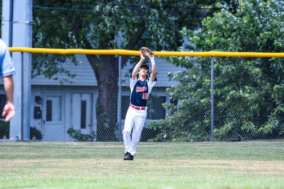 Sean Crean catches a pop fly against Stamford in the American Legion state championship game at Meridens Ceppa field