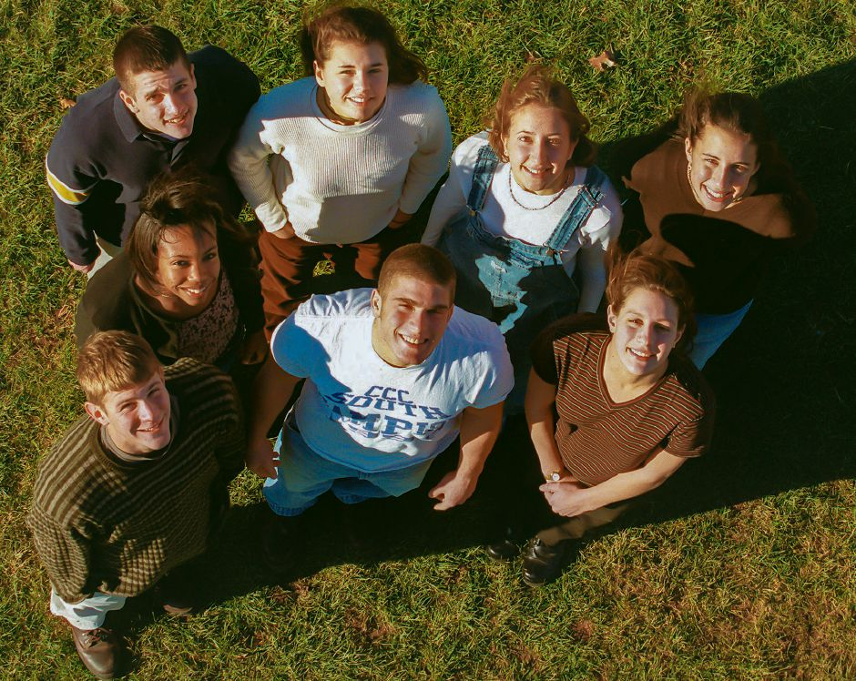 RJ file photo - 1998 Southington High School Fall Scholar Athletes. Top Row: Jim McLaughlin, Michelle Gonzalez, Susan Schultz and Rachel Currao. Bottom row: Chris Szabo, Allecia Reid, Tony Palmieri and Audra Baroni, Dec. 1998.