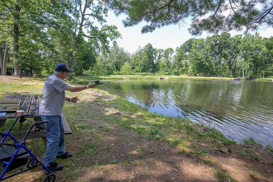 Dan Hadlock, of North Haven, casts a line into the pond at Wharton Brook State Park in Wallingford, Wed., July 3, 2019. Hadlock is a U.S. Air Force Vietnam veteran. Dave Zajac, Record-Journal
