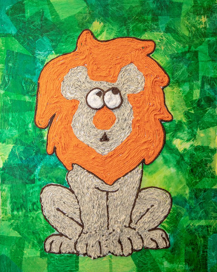 A lion made from mixed media by blind sixth-grade student Jose Nieves Roman, 12, at Lincoln Middle School in Meriden, Tues., Jan. 8, 2019. Roman used yarn of different textures in creating the project over a two-month period. Dave Zajac, Record-Journal