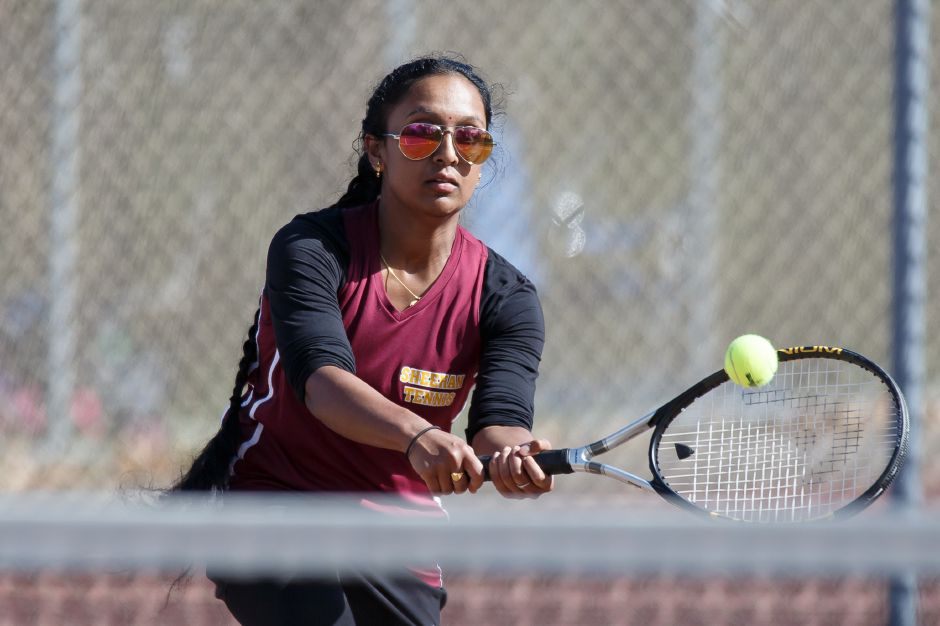 Srivani Agnihotram's win at No. 1 singles led the Sheehan girls tennis team to a 5-2 rivalry win over Lyman Hall on Tuesday evening at Doolittle Park. | Justin Weekes / Special to the Record-Journal