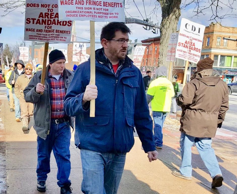 Democrat Dan Fontaine (center) at a protest held Feb. 8, 2018, by a union of carpenters, CT Carpenters Local 326, in Middletown, Connecticut to protest treatment recieved from a contractor. Sumbitted