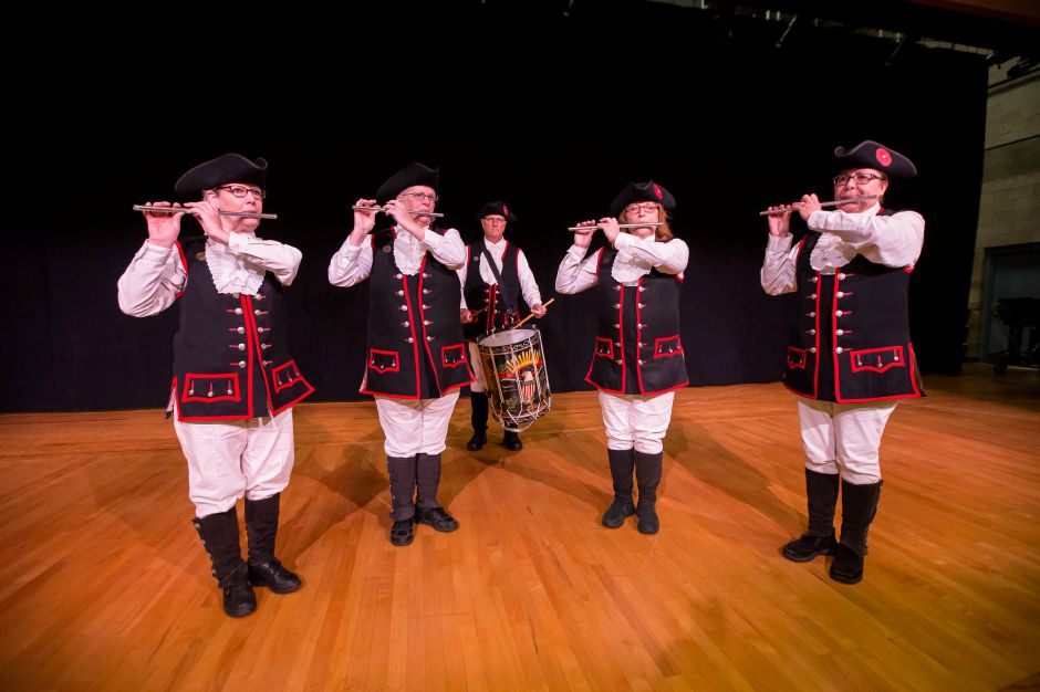 The Yalesville Fife and Drum Corps perform Sunday during the Wallingford Veterans Day ceremony at Dag Hammarskjöld Middle School in Wallingford November 11, 2018 | Justin Weekes / Special to the Record-Journal