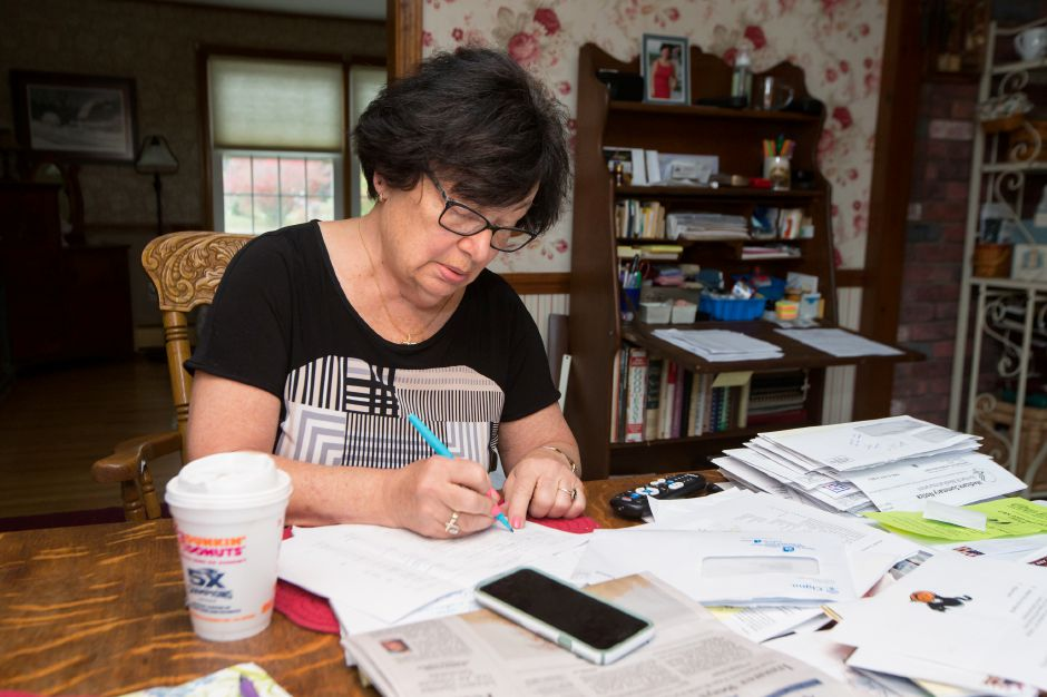 Republican mayoral candidate Irene Masse works from home on her campaign for mayor in Meriden Tuesday.This will be Masses