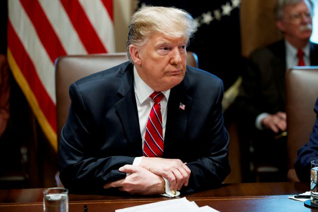 President Donald Trump listens to a question during a cabinet meeting at the White House, Tuesday, Feb. 12, 2019, in Washington. (AP Photo/ Evan Vucci)
