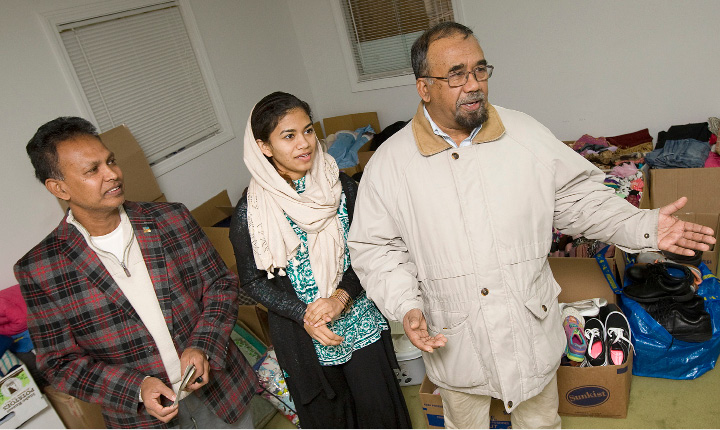 Left to right, Mosiur Rahman Kamal, of Meriden, Farah Salam, of Wallingford, and Abdus Salam, of Wallingford, are collecting clothing and monetary donations for Middle Eastern refugee families at the Islamic Center of Wallingford.