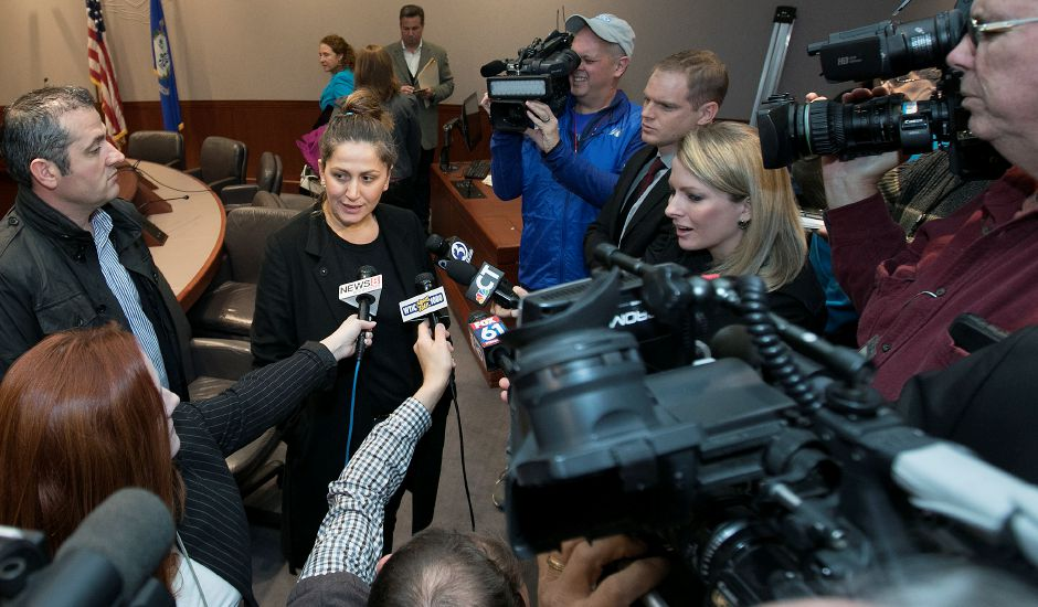 Denada Rondos answers questions from the media during an appearance at the Legislative Office Building in Hartford Monday, November 13, 2017. The Department of Homeland Security issued a forbearance that stated ICE won't act to deport Rondos while her appeal is being reviewed by the Second Circuit Court of Appeals. | Dave Zajac, Record-Journal