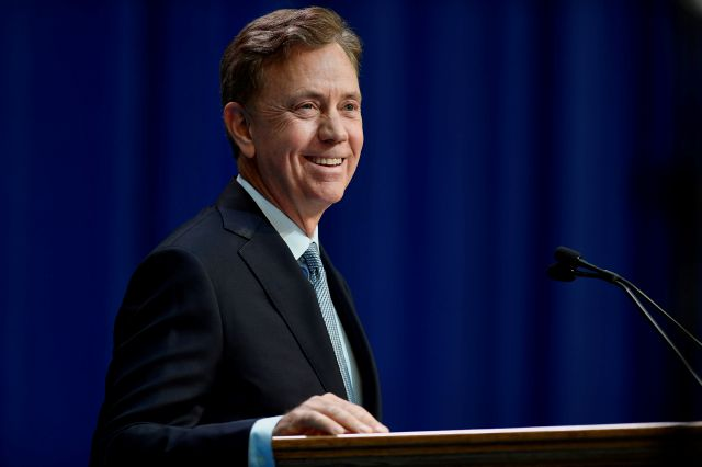 Connecticut Gov. Ned Lamont speaks after taking the oath of office, Wednesday, Jan. 9, 2019, inside the William A. O