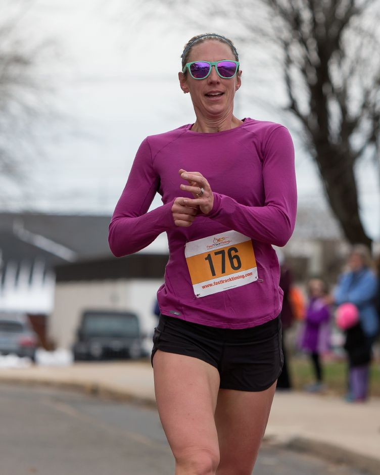 Anna Hladky of Wallingford finished first for the women Sunday during the Kiwanis Turkey Trot 5k and 5 mile at Stevens School in Wallingford November 18, 2018 | Justin Weekes / Special to the Record-Journal