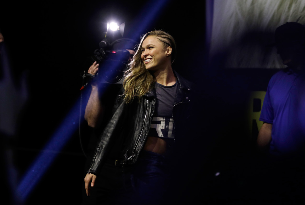Ronda Rousey walks on stage during an event for UFC 207, Thursday, Dec. 29, 2016, in Las Vegas. Rousey is scheduled to fight Amanda Nunes in a mixed martial arts women