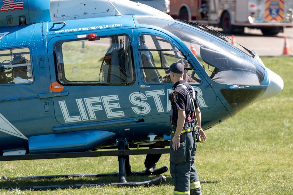 Lifestar was dispatched to Giuffrida Park in Meriden Saturday afternoon to respond to a woman who fell 20 to 30 feet while rock climbing. | Devin Leith-Yessian/Record-Journal