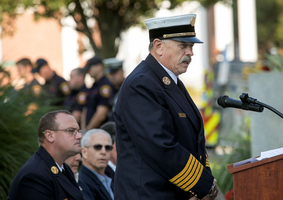 Fire Chief Ken Morgan speaks during the annual 9/11 remembrance ceremony at Meriden City Hall, Sept. 11, 2017.  | Dave Zajac, Record-JournalDAVE ZAJAC
