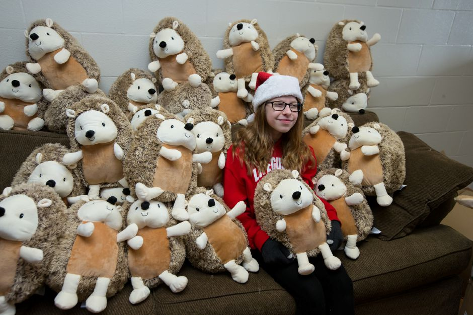 Valerie Sprague  sits with Avon hedgehogs that she sells to help raise money for the Connecticut Children's Medical Center. Justin Weekes, special to the Record-Journal