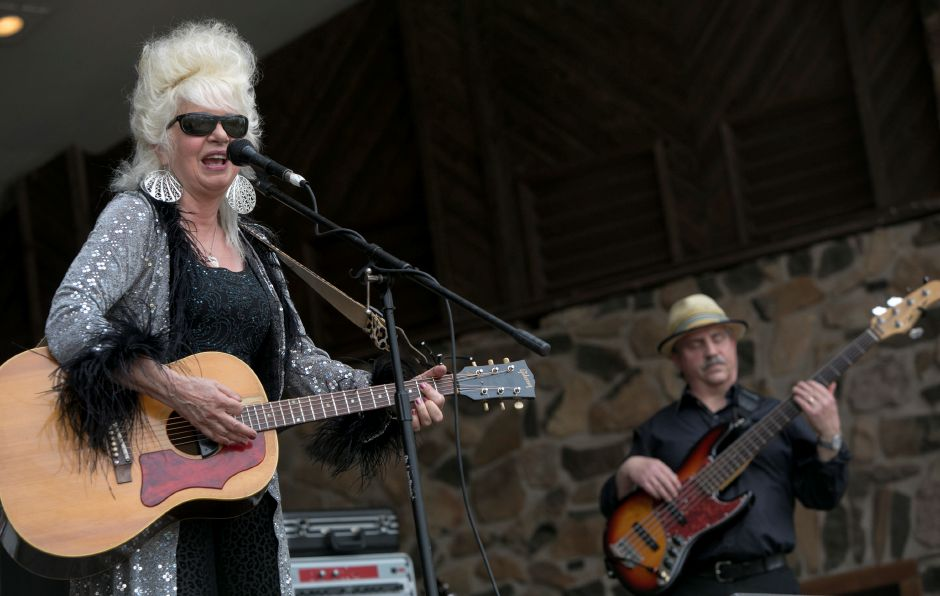 Christine Ohlman & Rebel Montez perform at the bandshell during the 39th annual Daffodil Festival at Hubbard Park in Meriden, Saturday, April 29, 2017. Mike Colbath, right, plays bass. | Dave Zajac, Record-Journal