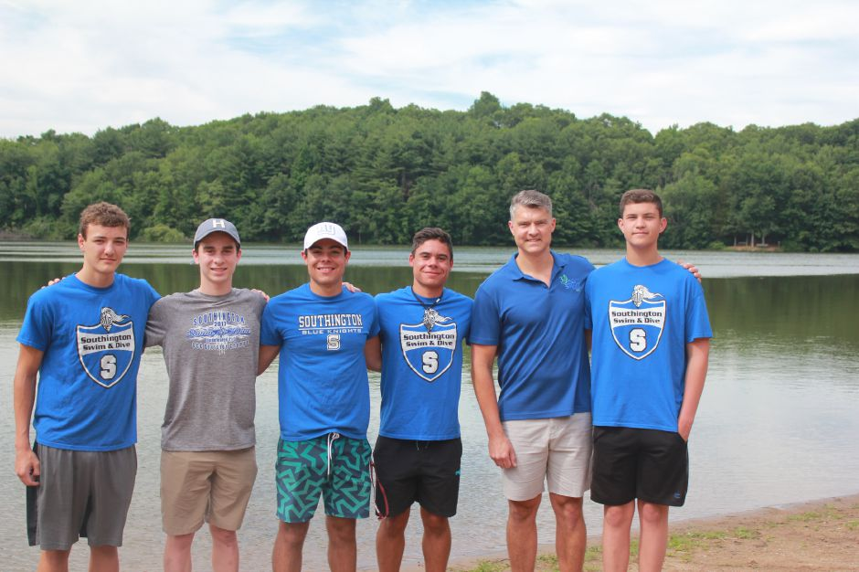 Southington's Dave Malsheske has put together a team comprising himself, his son Jack and several of Jack's teammates from the Southington High School boys siwmming team to participate in this year's St. Vincent SWIM Across the Sound. The full team is pictured here. From left to right, are Tyler Heidgerd, Evan Bender, Brendan Egan, Brian Egan, David Malsheske and Jack Malsheske. | Photo courtesy of David Malsheske