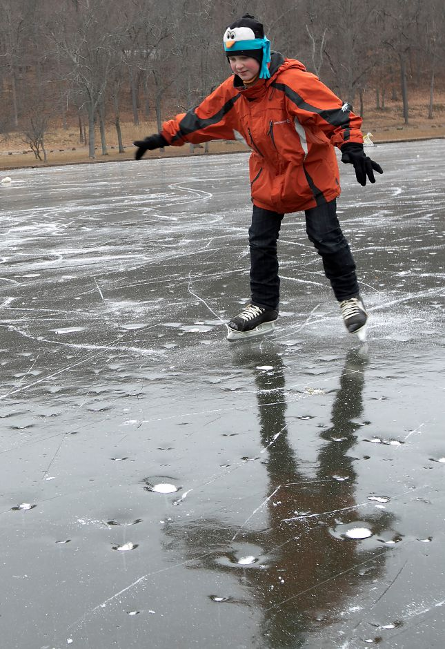 John Fuerstenberg, 10, of Meriden, skates for the first time on Mirror Lake at Hubbard Park in Meriden, Monday, Jan. 15, 2018. Hubbard Park is open to public skating after more than 10 years. Dave Zajac, Record-Journal