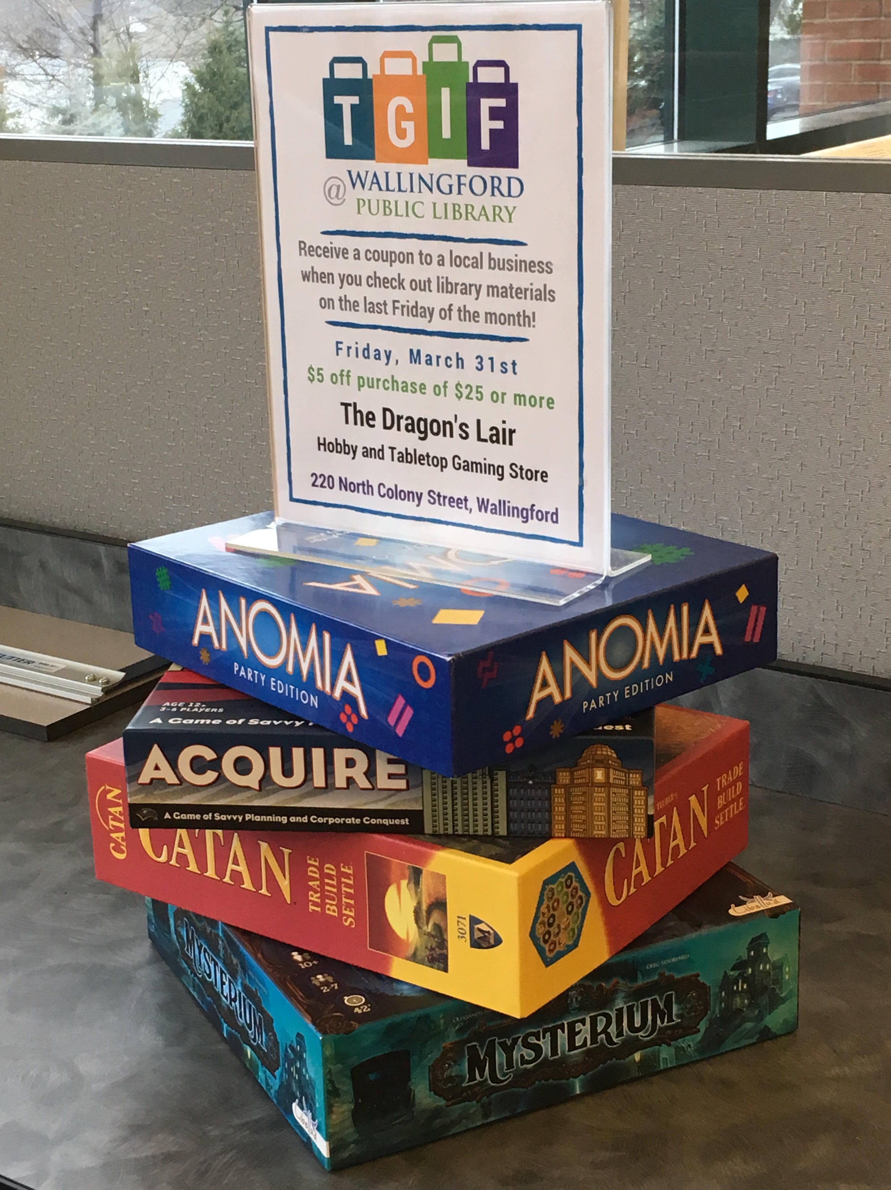 The Wallingford Public Library is offering coupons to local businesses on the last Friday of the month when patrons check out library items. On March 31, the gaming shop Dragon