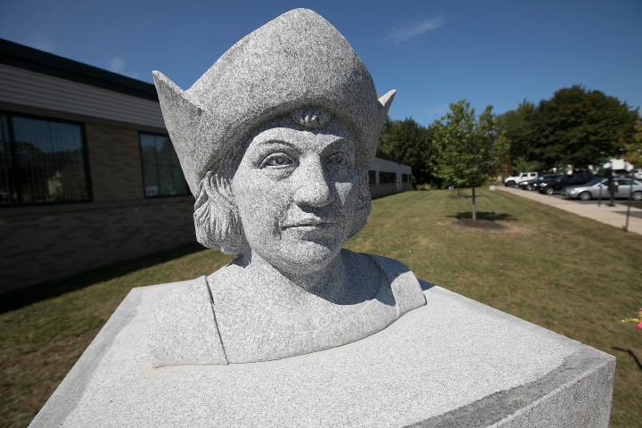 A newly installed statue of Christopher Columbus in front of the John Weichsel Municipal Center in Southington, Wednesday, Sept. 13, 2017.    | Dave Zajac, Record-Journal