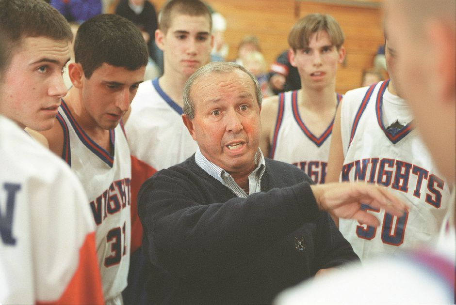 RJ file photo - Southington Coach John Salerno gives his players instructions during a loss to E.O. Smith Dec. 22, 1998.