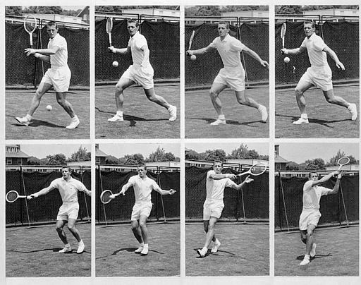 Tony Trabert of the U.S. started learning this forehand form, seen in this sequence of photos taken in New York, Aug. 23, 1955, at the age of six.  (AP Photo/John Lindsay)