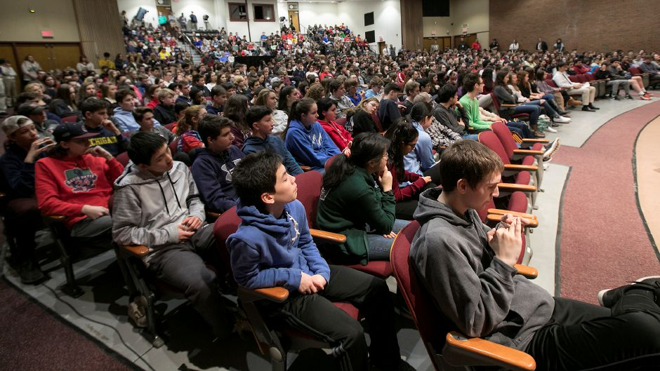 Freshman and sophomore students attend a gun violence prevention and school safety discussion with Congresswoman Elizabeth Esty (CT-5) at Cheshire High School, Monday, March 19, 2018. Dave Zajac, Record-Journal