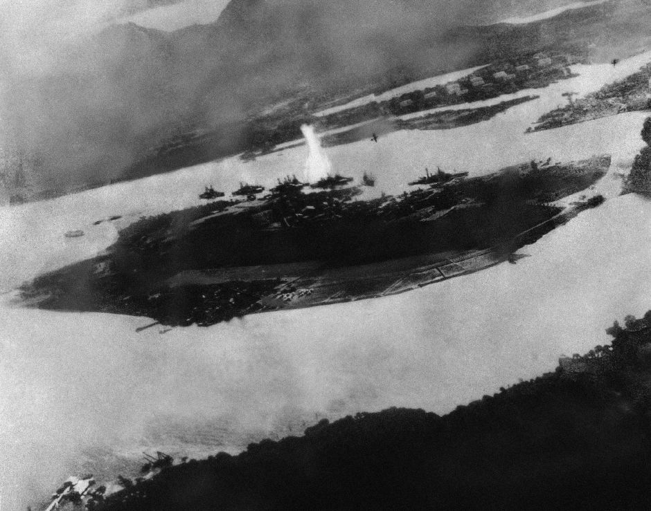 Believed to be the first bomb dropped on Pearl Harbor, Hawaii in the sneak-attack on Dec. 7, 1941, this picture was found torn to pieces at Yokusuka Base by photographer