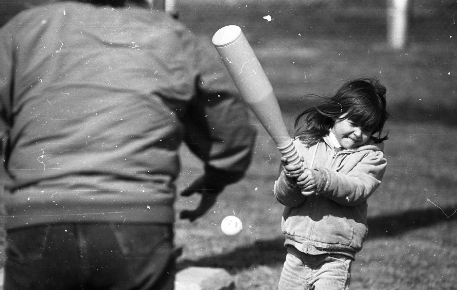 RJ file photo - Shannon Brooks, 5, takes a mighty swing during a game of wifleball at Doolitle Park, March 1989.